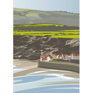 Robin Hoods Bay from Rocket Post Field - (portrait)