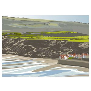 Robin Hoods Bay from Rocket Post Field - (landscape)