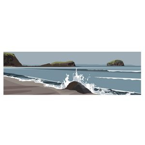 Panoramic - Bass Rock from Seacliff Beach